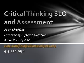 Critical Thinking SLO and Assessment