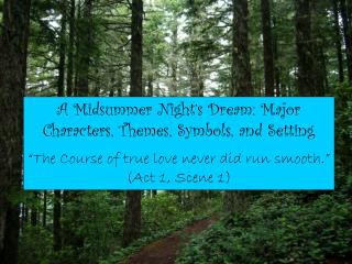 A Midsummer Night's Dream: Major Characters, Themes, Symbols, and Setting