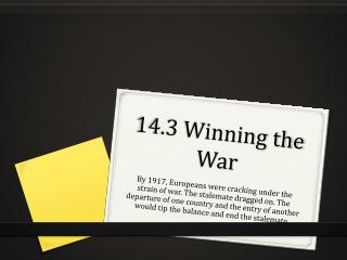14.3 Winning the War