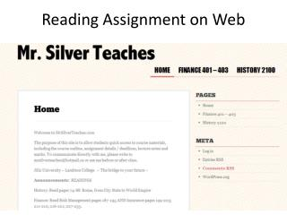 Reading Assignment on Web
