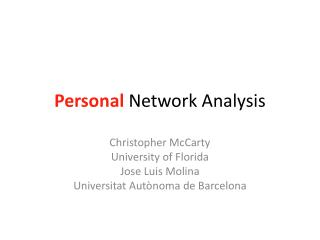 Personal  Network Analysis