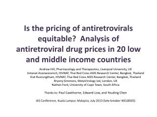 Andrew Hill, Pharmacology and Therapeutics, Liverpool University, UK