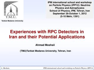 Experiences with RPC Detectors in Iran and their Potential Applications