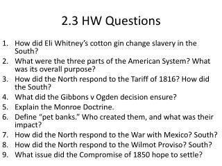 2.3 HW Questions