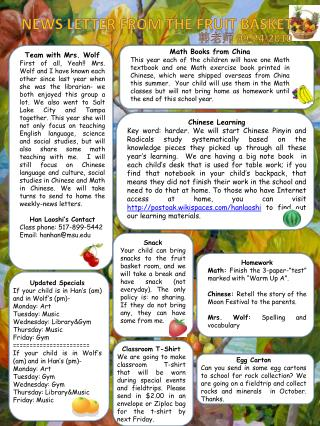 News letter from the Fruit Basket