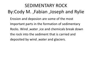 SEDIMENTARY ROCK By:Cody  M. ,Fabian ,Joseph and  Rylie