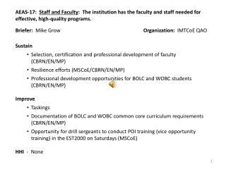 Briefer:   Mike Grow Organization:   IMTCoE QAO