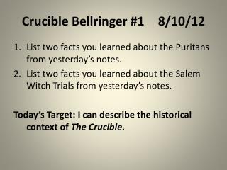 Crucible Bellringer #18/10/12