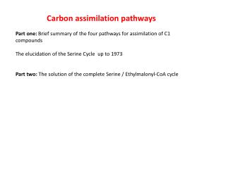 Carbon assimilation pathways