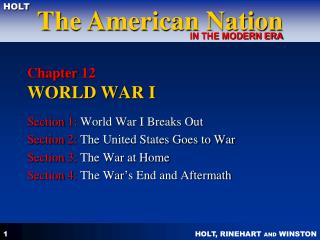 Chapter 12  WORLD WAR I