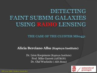 Detecting  faint submm  galaxies  using  RADIO lensing the case of the cluster MS0451