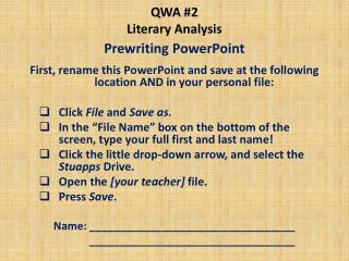 QWA #2 Literary Analysis
