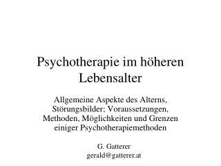 Psychotherapie im höheren Lebensalter