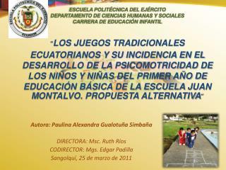 ESCUELA POLIT CNICA DEL EJ RCITO DEPARTAMENTO DE CIENCIAS HUMANAS Y SOCIALES CARRERA DE EDUCACI N INFANTIL