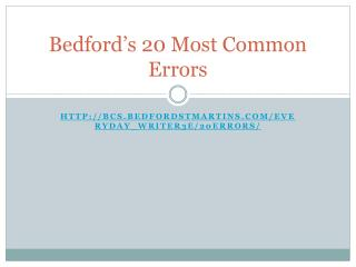 Bedford's 20 Most Common Errors