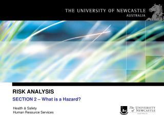 RISK ANALYSIS   What is a Hazard
