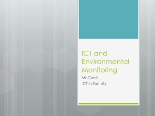 ICT and Environmental Monitoring