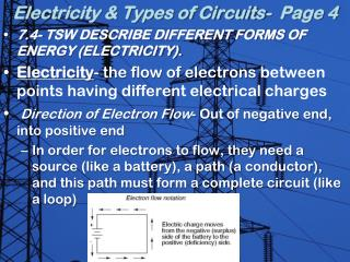 Electricity & Types of Circuits-  Page 4