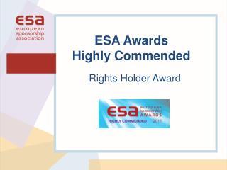 Rights Holder Award