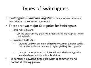 Types of  Switchgrass