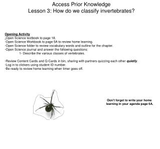Access Prior Knowledge Lesson 3: How do we classify invertebrates?
