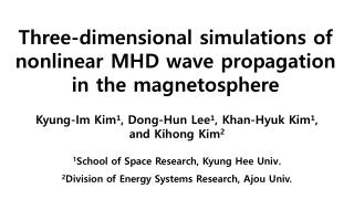 Three-dimensional simulations of nonlinear MHD wave propagation in the magnetosphere