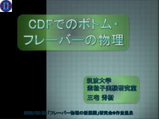 CDF での ボトム・ フレーバーの物理