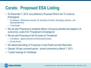 Corals:  Proposed ESA Listing