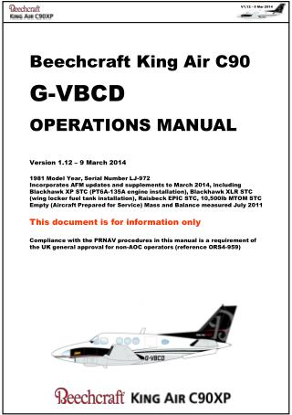 Beechcraft King Air C90 G-VBCD OPERATIONS MANUAL Version  1.12  –  9 March 2014