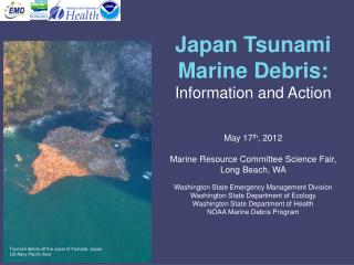 Tsunami debris off the coast of Yamada, Japan.  US Navy Pacific fleet