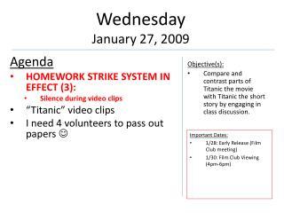 Wednesday January 27, 2009