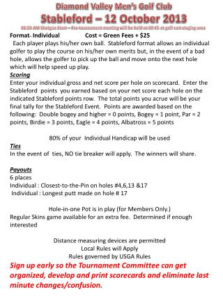 Diamond Valley Men's Golf Club Stableford  – 12 October 2013