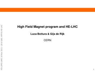 High Field Magnet program and HE- LHC Luca  Bottura  &  Gijs  de Rijk CERN
