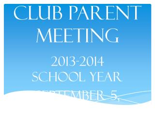 Drama Club Parent Meeting
