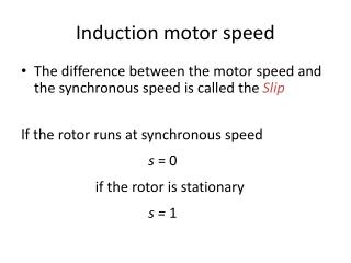 Induction motor speed