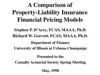A Comparison of Property-Liability Insurance Financial Pricing Models