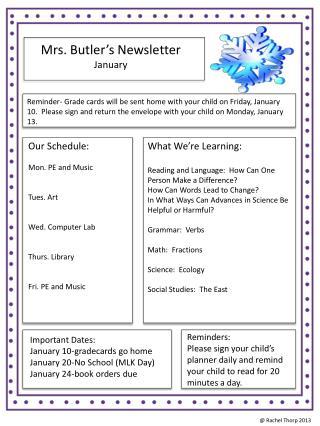 Mrs. Butler's Newsletter January