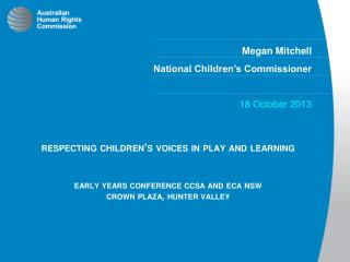 Megan Mitchell  National Children's Commissioner