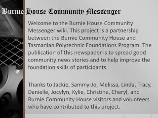 Burnie House Community Messenger