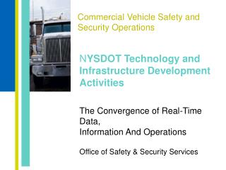 Commercial Vehicle Safety and Security Operations