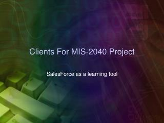 Clients For MIS-2040 Project