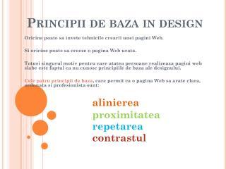 Principii de baza in design