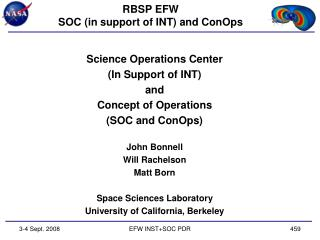 RBSP EFW SOC (in support of INT) and  ConOps