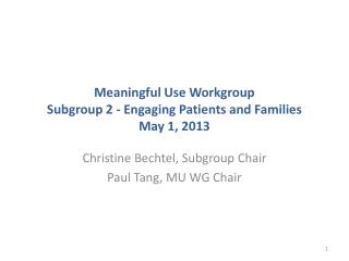 Meaningful Use Workgroup Subgroup 2 - Engaging Patients and Families May 1, 2013