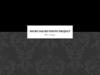 Micro Macro Photo Project