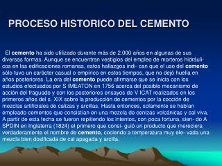 PROCESO HISTORICO DEL CEMENTO