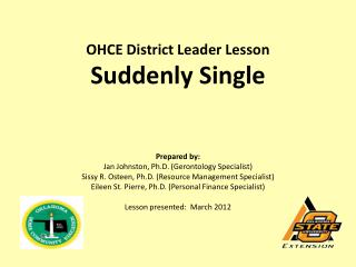 OHCE District Leader Lesson Suddenly Single