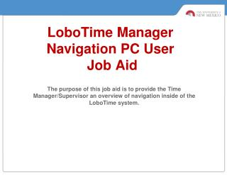 LoboTime  Manager  Navigation PC User  Job Aid