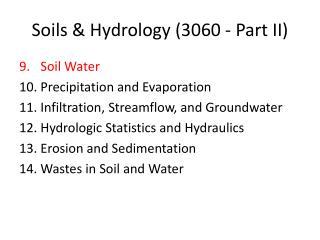 Soils & Hydrology  (3060 - Part  II)