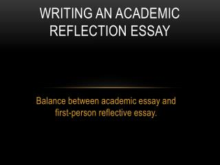 Writing an academic Reflection essay